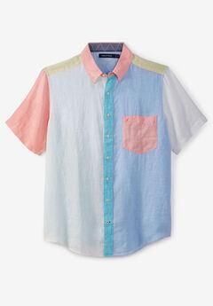 Linen Color Block Shirt by Nautica® , BRIGHT WHITE