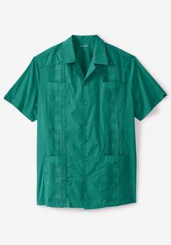 KS Island™ Short-Sleeve Guayabera Shirt, EMERALD