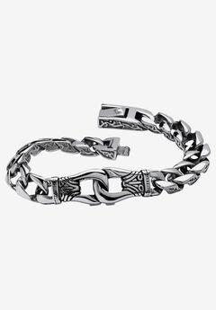 "9"" Stainless Steel Tribal Curb Link 9"" Bracelet,"
