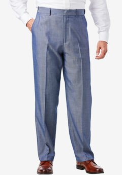 Easy-Care Classic Fit Expandable Waist Plain Front Dress Pants, DARK BLUE HERRINGBONE