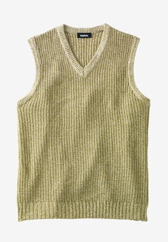 Shaker Knit V-Neck Sweater Vest, KHAKI MARL