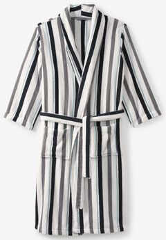 Terry Bathrobe with Pockets, WHITE STRIPE