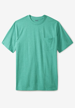 Shrink-Less™ Lightweight Pocket Crewneck T-Shirt, TIDAL GREEN HEATHER