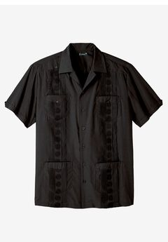 KS Island™ Short-Sleeve Guayabera Shirt, BLACK