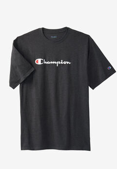 Script Logo Tee by Champion®, CHARCOAL