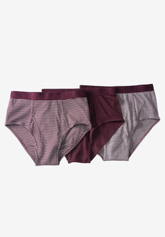 Classic Briefs 3-Pack, ASSORTED DEEP BURGUNDY STRIPE