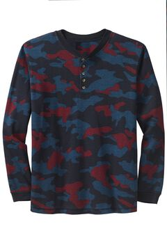 Waffle Knit Thermal Henley Tee, NAVY CAMO