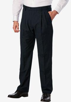KS Signature Easy Movement® Pleat-Front Expandable Dress Pants, NAVY PINSTRIPE