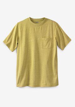 Shrink-Less™ Lightweight Pocket Crewneck T-Shirt, HEATHER MUSTARD