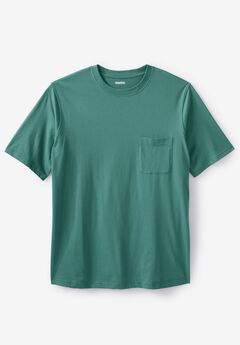 Shrink-Less™ Lightweight Pocket Crewneck T-Shirt, VINTAGE GREEN