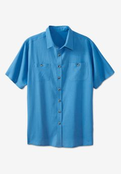 Short-Sleeve Linen Shirt, PACIFIC BLUE