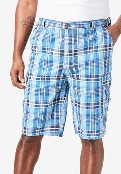 "10"" Cargo Shorts, NAVY PLAID"
