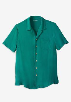 KS Island Solid Rayon Short-Sleeve Shirt, EMERALD