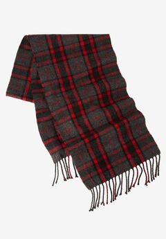 Extra Long Scarf, CHARCOAL RED PLAID