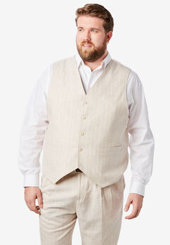 Linen Blend 5 Button Suit Vest by KS Island™, NATURAL PINSTRIPE