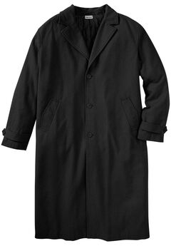 Wool-Blend Long Overcoat, BLACK