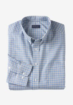 Wrinkle-Resistant Oxford Dress Shirt by KS Signature, ROYAL BLUE CHECK