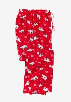 Holiday Print Flannel Pajama Pants, POLAR BEAR