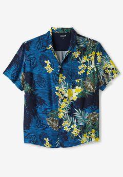 Tropical Caribbean Print Shirt by KS Island™, YELLOW HIBISCUS