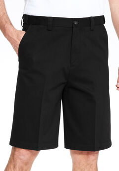 Wrinkle-Free Expandable Waist Plain Front Shorts,