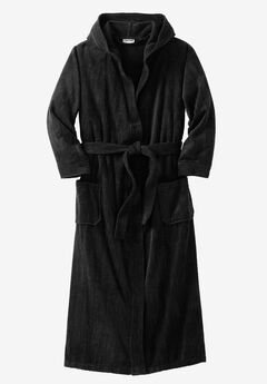 Terry Velour Hooded Maxi Robe, BLACK