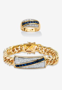 Men's Yellow Gold over Sterling Silver Square Sapphire and Round Ring Cubic Zirconia (7 5/8 cttw),