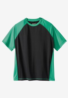 Raglan Sleeve Swim Shirt, BLACK SEA GREEN