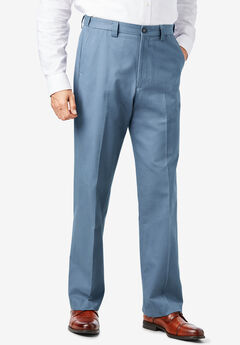 Relaxed Fit Wrinkle-Free Expandable Waist Plain Front Pants, SLATE BLUE