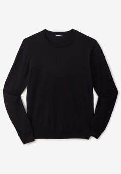 Pima Crewneck Sweater, BLACK