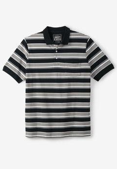 Liberty Blues® Pocket Piqué Polo Shirt, BLACK STRIPE