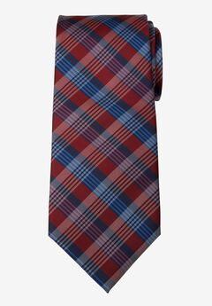 KS Signature Extra Long Classic Plaid Tie, RICH BURGUNDY PLAID