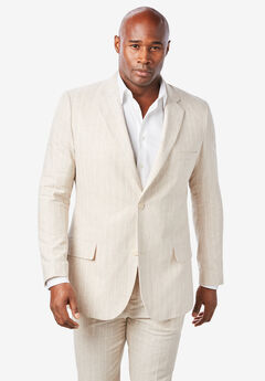 KS Island™ Linen Blend Two-Button Suit Jacket, NATURAL PINSTRIPE