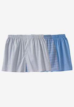 Woven Boxers 3-Pack, ASSORTED BLUE PATTERN