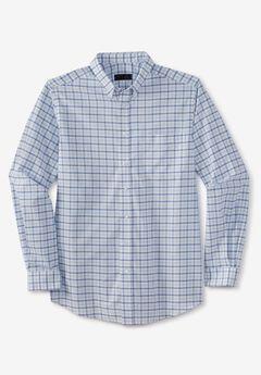 KS Signature Wrinkle-Resistant Oxford Dress Shirt, SKY BLUE CHECK