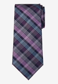 KS Signature Extra Long Classic Plaid Tie, LIGHT PURPLE PLAID