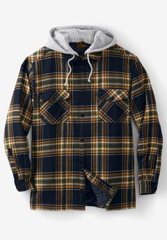 Removable Hood Shirt Jacket by Boulder Creek®, BLACK PLAID