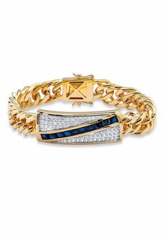 "Yellow Gold-Plated Link 8"" Bracelet with Sapphire and Cubic Zirconia Accents,"