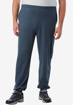 Lightweight Elastic Cuff Sweatpants, HEATHER SLATE BLUE