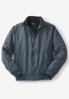 Fleece-Lined Bomber Jacket, CARBON