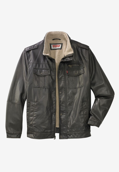 f072f6a74 Faux Leather Stand Collar Military Jacket by Levi's®