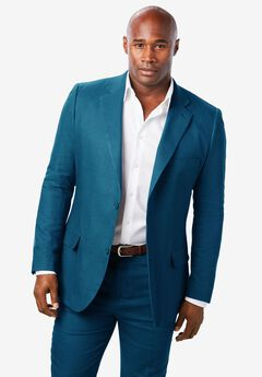 Linen Blend Two-Button Suit Jacket by KS Island™, NAVY