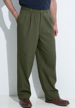 Knockarounds® Full-Elastic Waist Pleated Pants, OLIVE