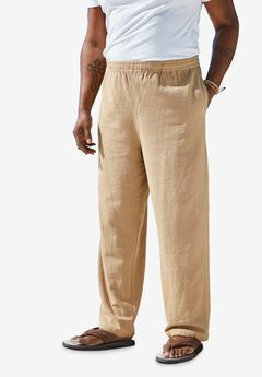 Elastic Waist Gauze Cotton Pants,