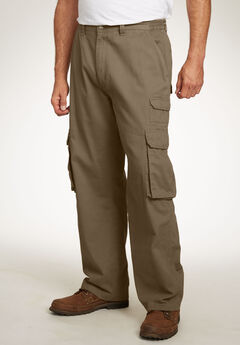 Boulder Creek® Side-Elastic Stacked Cargo Pocket Pants, DARK KHAKI