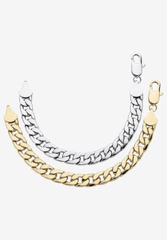 "2 Piece Gold Tone and Silvertone 9"" Curb-Link Bracelet,"