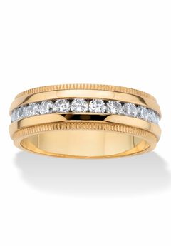Gold Ion-Plated Stainless Steel Cubic Zirconia Wedding Band,