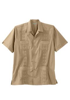 KS Island™ Short-Sleeve Guayabera Shirt, KHAKI