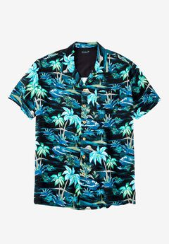KS Island™ Tropical Caribbean Camp Shirt, BLACK PALM