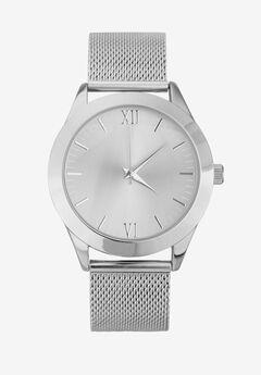 Silver Mesh Bracelet Watch,