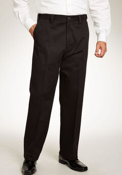 Relaxed Fit Wrinkle-Free Expandable Waist Plain Front Pants, BLACK